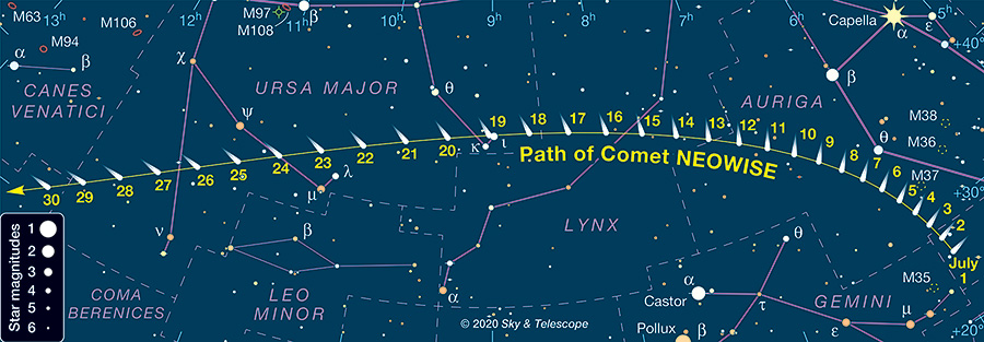 Comet NEOWISE July location map