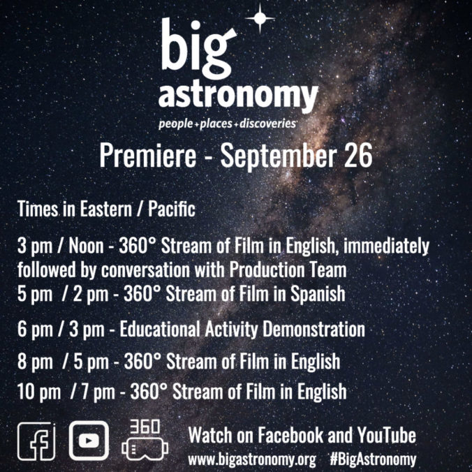 Big Astronomy 360 Premiere times