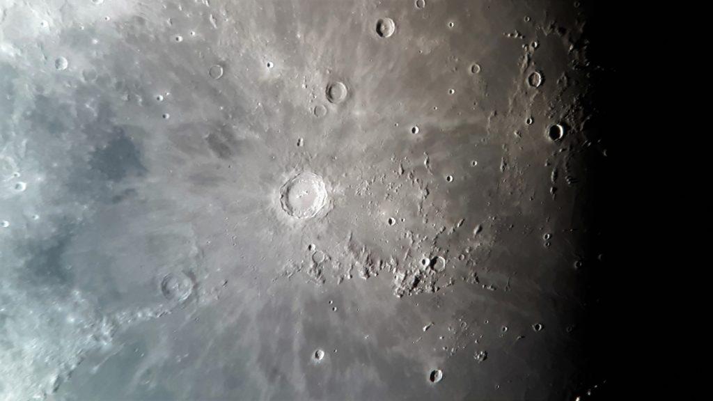 Copernicus moon crater photo taken through a telescope